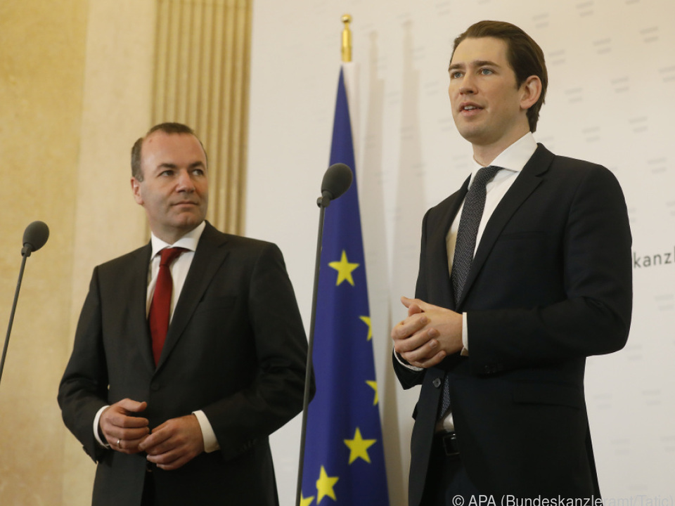 EVP-Spitzenkandidat Manfred Weber bei Bundeskanzler Sebastian Kurz
