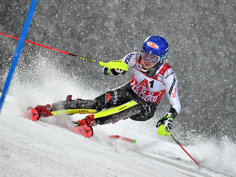 Mikaela Shiffrin im Flachauer Schneegestöber