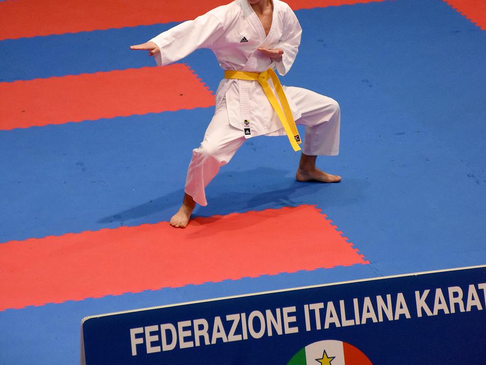 Nachwuchstalent Patrick Pistocchi bei seinem ersten Wettkampf im Kata kam er bereits auf Platz 3