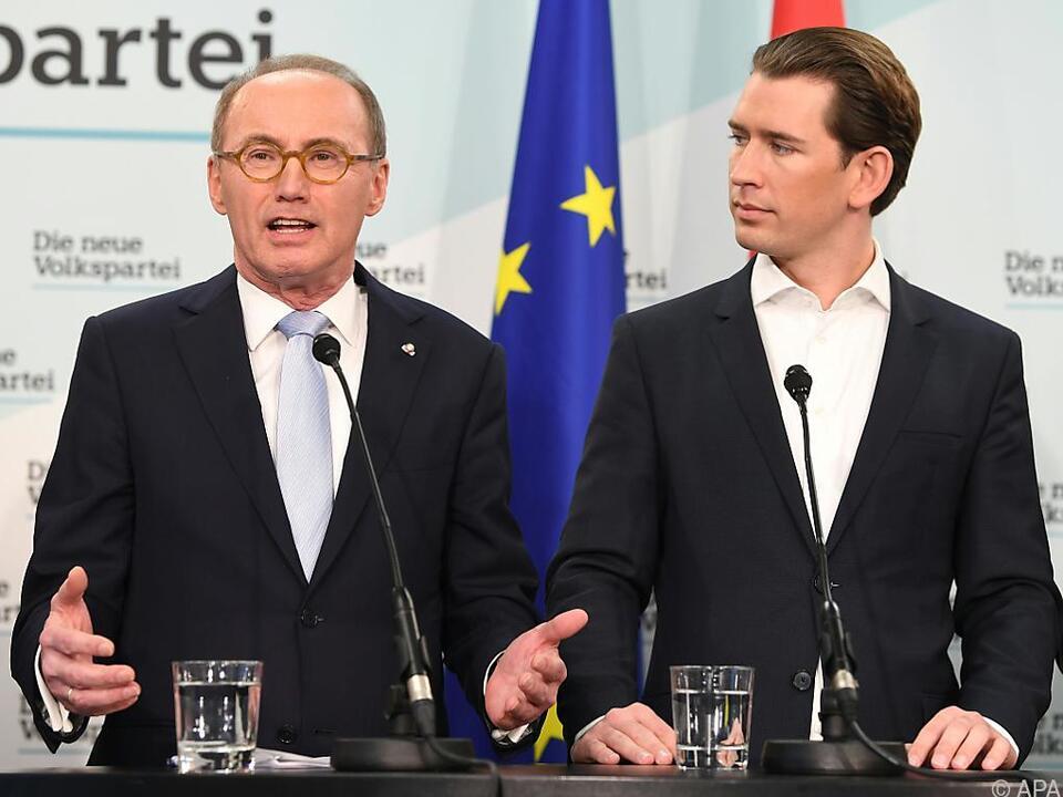 Spitzenkandidat Othmar Karas und Kanzler Sebastian Kurz (beide ÖVP)