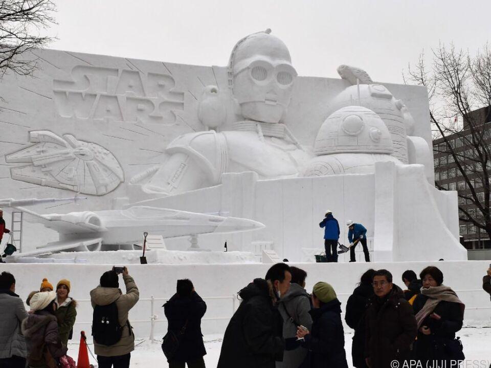 Beeindruckende Schneeskulpturen in Sapporo, Japan