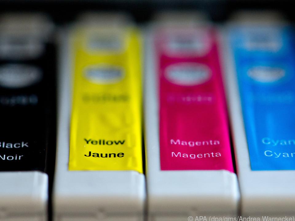 Die für den Farbdruck wichtigen drei Grundfarben Gelb, Magenta und Cyan