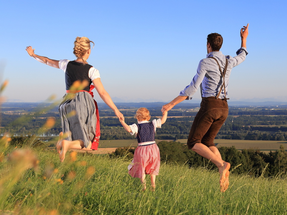 Familie, Tirol Dirndl, Tracht, Lederhose
