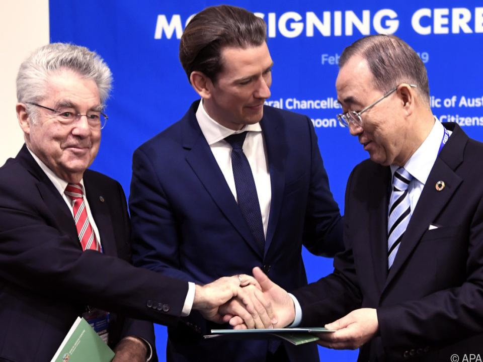 Kanzler Kurz mit Altbundespräsident Fischer in Seoul