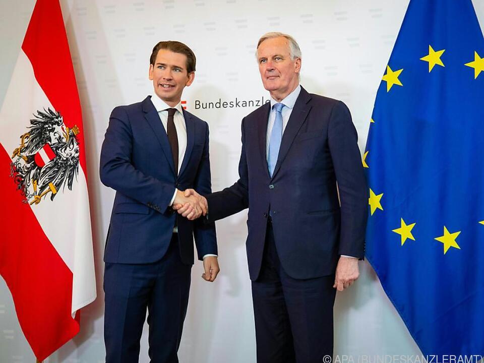 Kurz empfing Barnier im Bundeskanzleramt