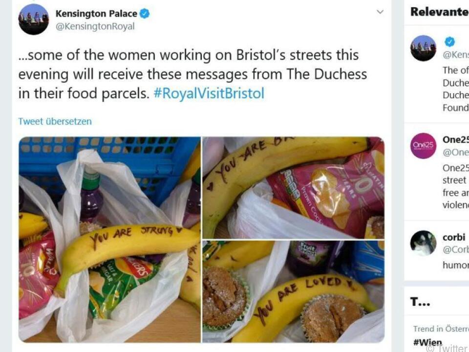Royale Botschaften auf Bananen