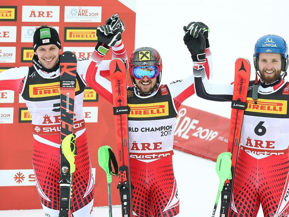 Sensationeller Dreifachsieg für das österreichische Slalom-Team