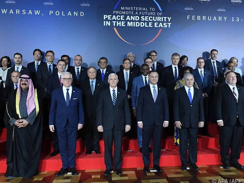 Teilnehmer der Nahost-Konferenz in Warschau