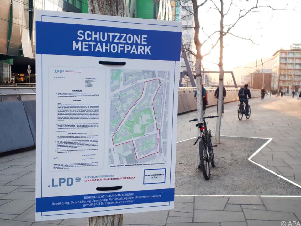 Auch für den Metahofpark gilt die Schutzzone