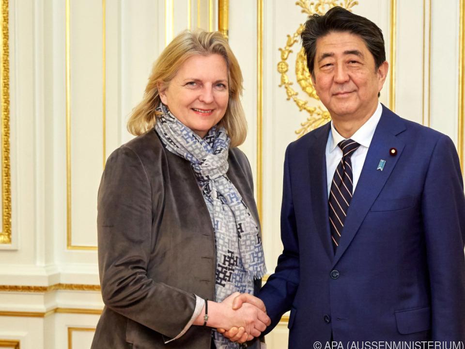 Kneissl nahm auch an einem Bankett von Premier Shinzo Abe teil