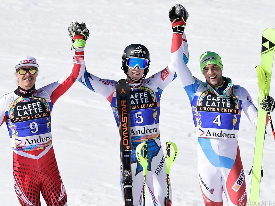 Slalompodium: Manuel Feller, Clement Noel und Daniel Yule