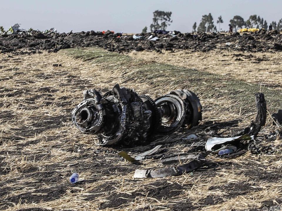 Teile der abgestürzten Maschine der Ethiopian Airlines