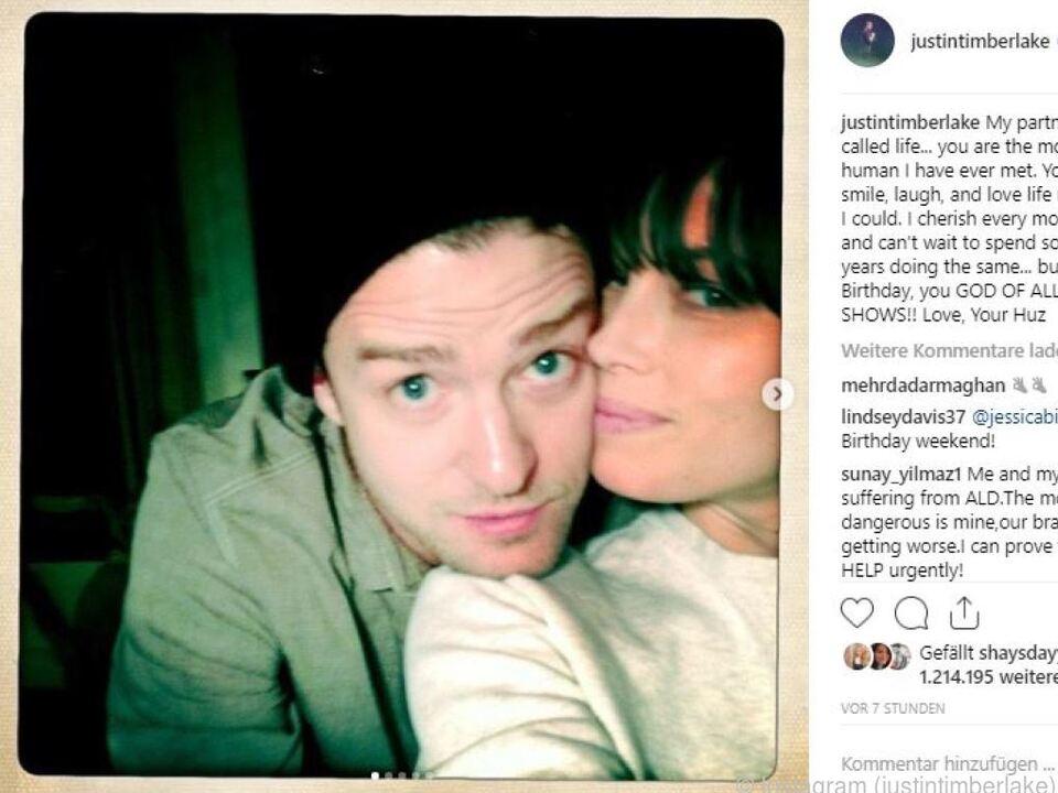 Timberlake postete ein Selfie von sich und seiner Frau
