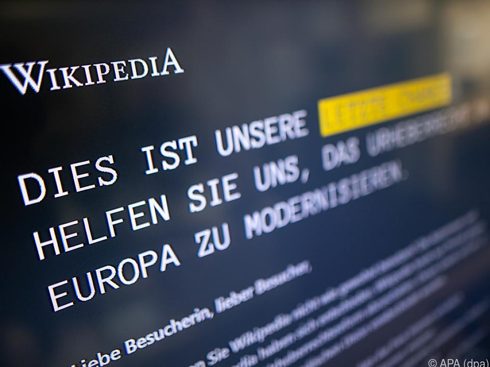 Wikipedia appelliert an die Nutzer, das EU-Parlament zu kontaktieren