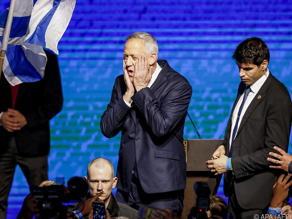 Gantz schaffte es mit seinem Bündnis auf gleich viele Sitze wie Likud