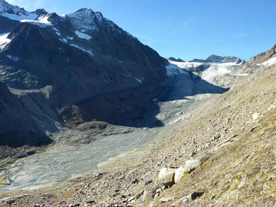 Großer Rückgang auch am Alpeinerferner in den Stubaier Alpen