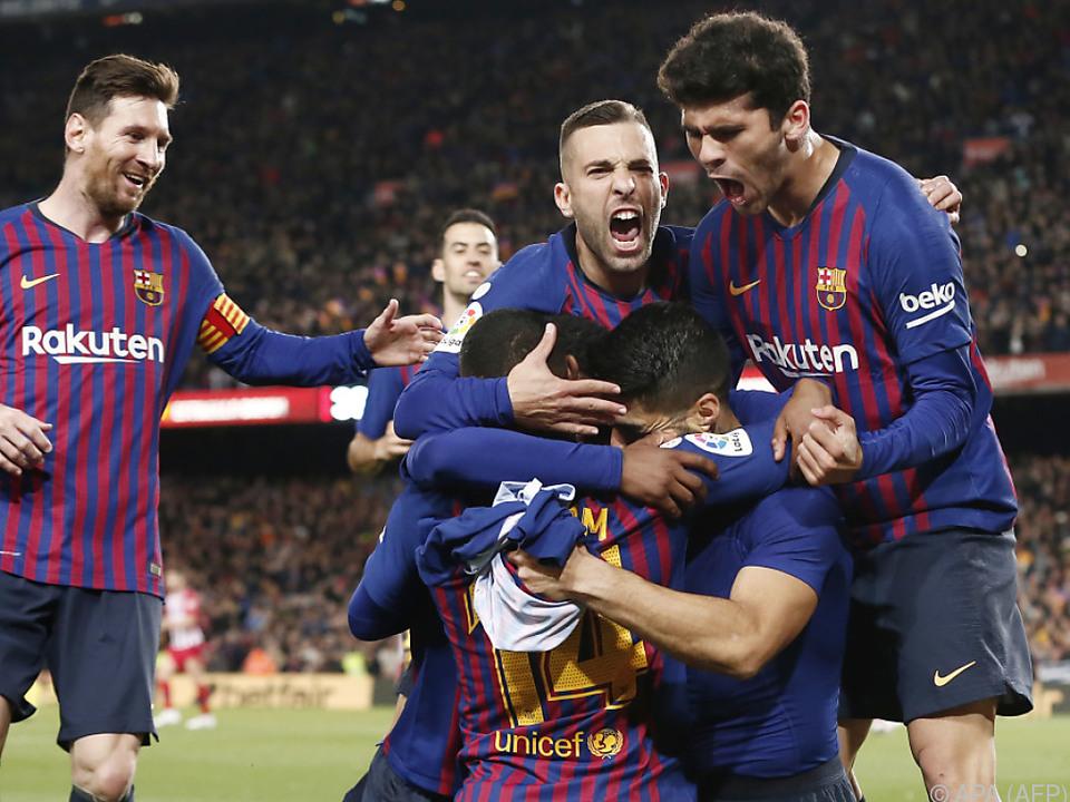 Jubel um Luis Suarez nach seinem späten Treffer zu Barcas 1:0-Führung