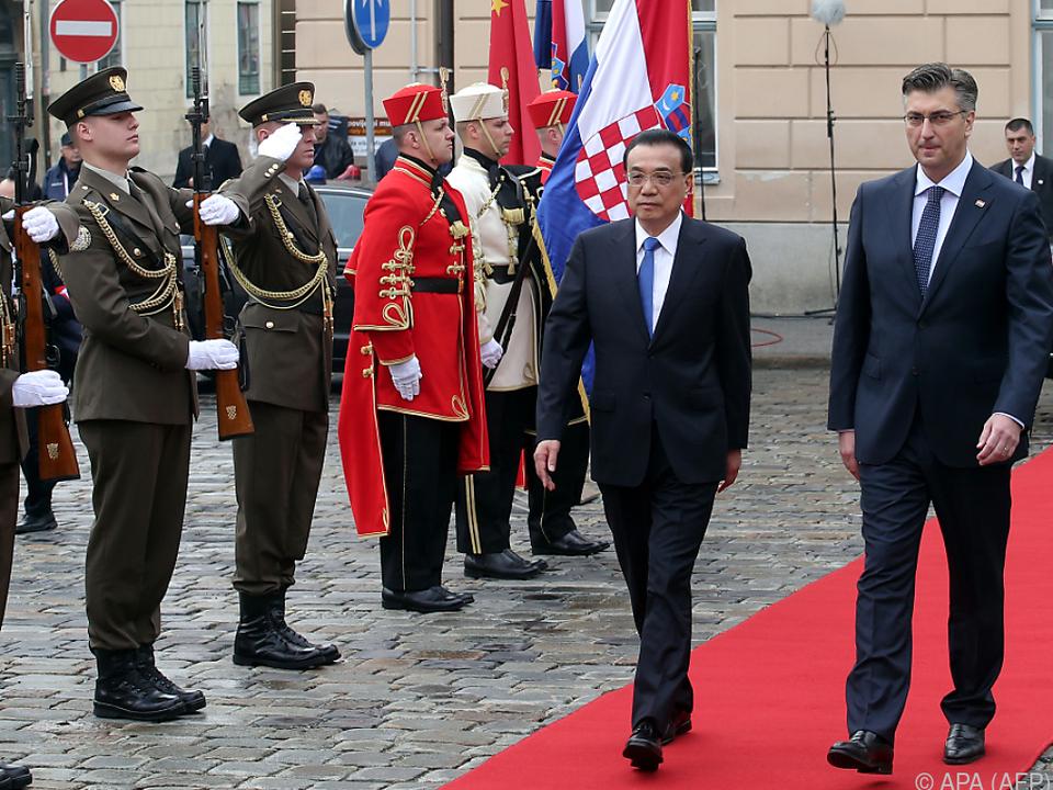 Kroatien empfing China mit allen Ehren