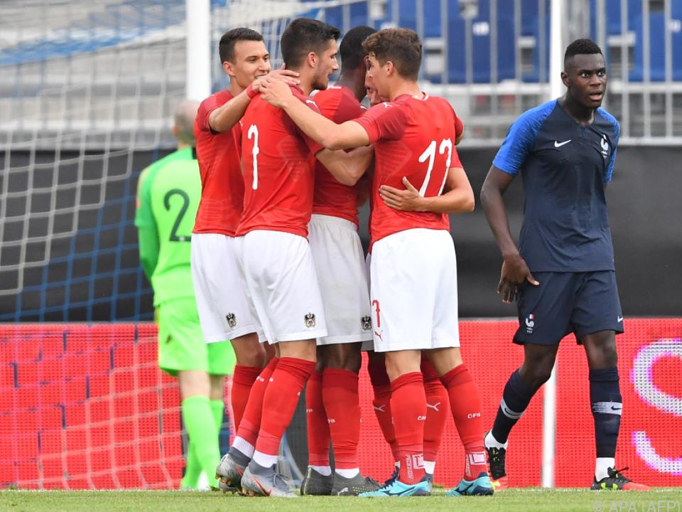 Die Österreichen freuen sich über ihren Sieg im finalen Testmatch