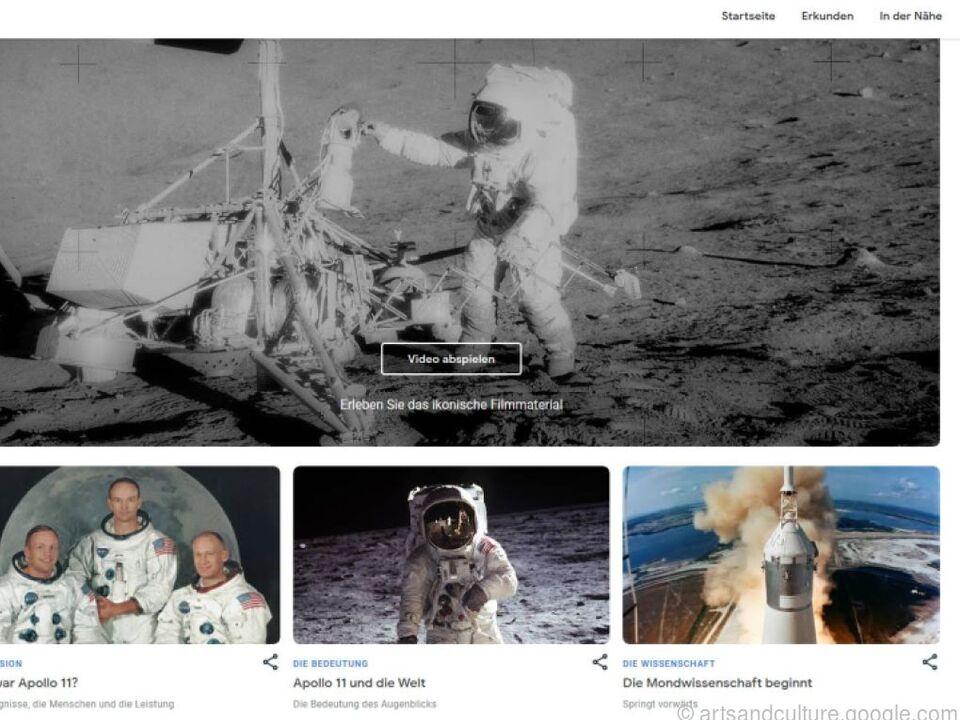 Die Filmaufnahmen vom ersten Mondspaziergang dürfen natürlich nicht fehlen