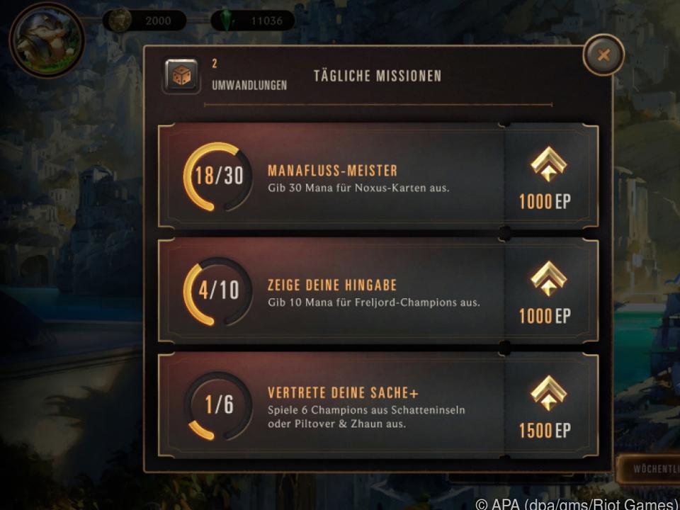 Spieler können Erfahrungspunkte und In-Game-Währung erspielen
