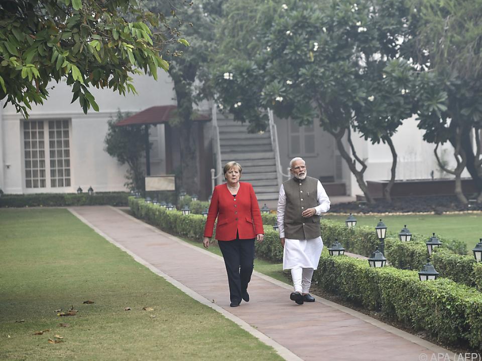 Die deutsche Kanzlerin bei Indiens Premier Modi