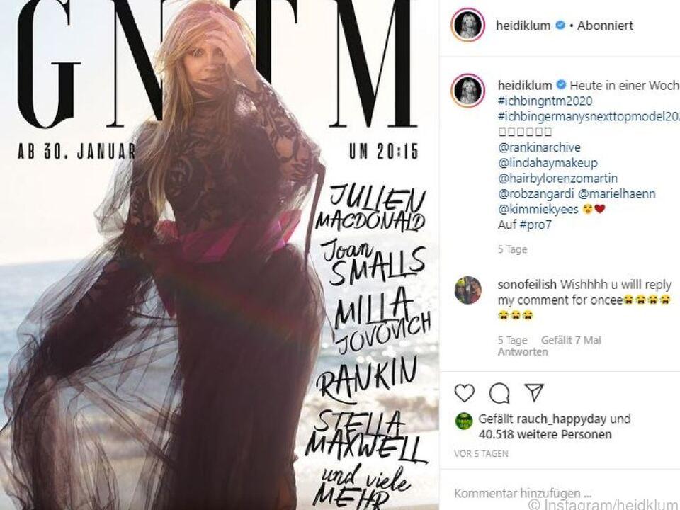 Auf Instagram macht Klum schon Werbung für die neue Staffel