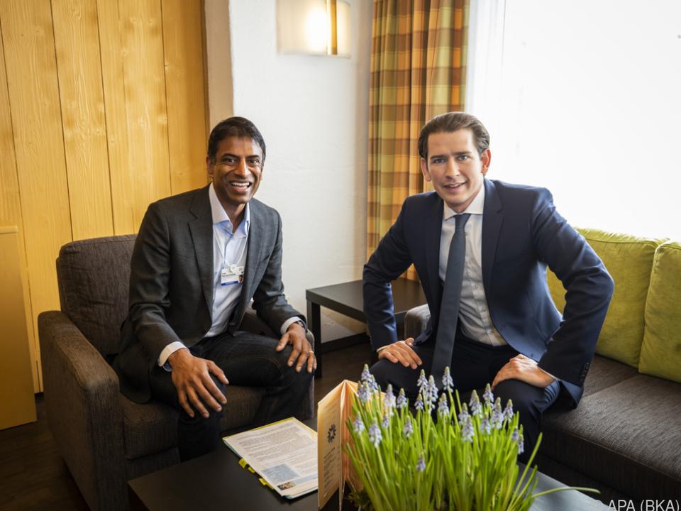 Bundeskanzler Kurz mit Novartis-Chef Narasimhan