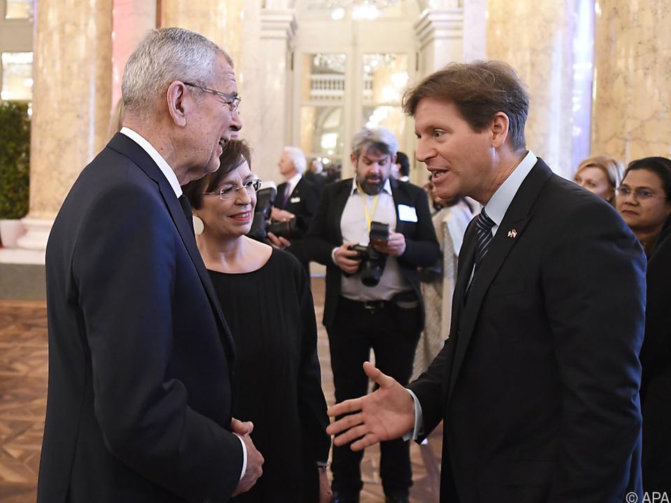 Bundespräsident Alexander Van der Bellen und US-Botschafter Trevor Traina