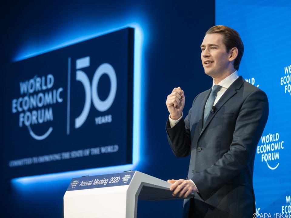 Kanzler Kurz bei seiner Rede in Davos