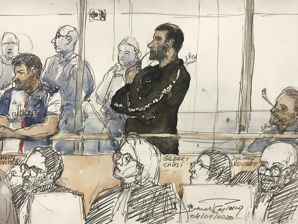 Gerichtszeichnung des Prozesses in Paris