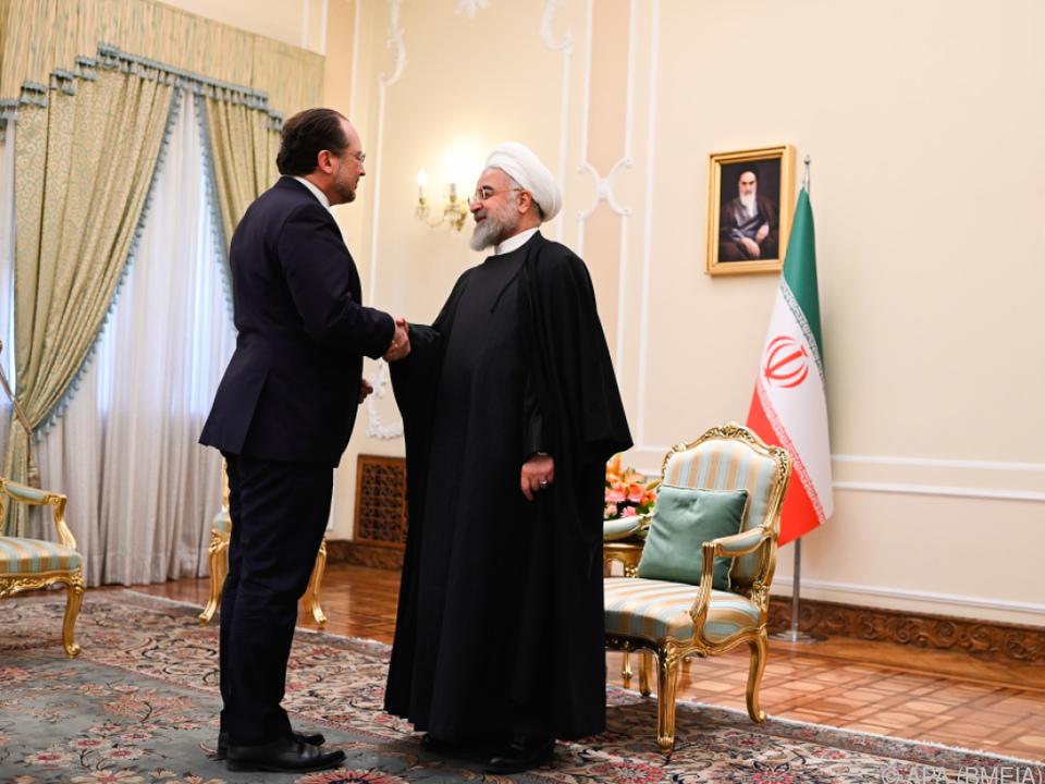 Minister Alexander Schallenberg mit Irans Präsident Hassan Rouhani