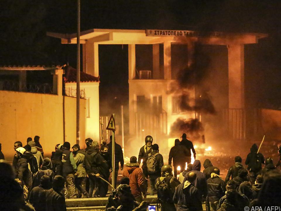 Proteste gegen Migrantenlager auf der griechischen Insel Lesbos