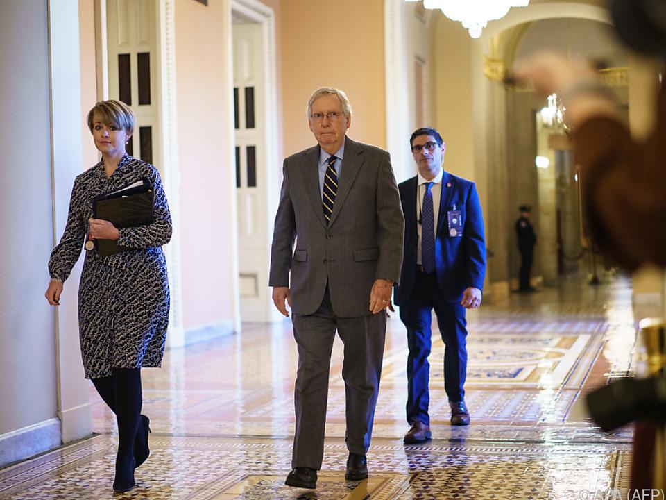 Senat-Mehrheitsführer Mitch McConnell vor Start des Prozesstages
