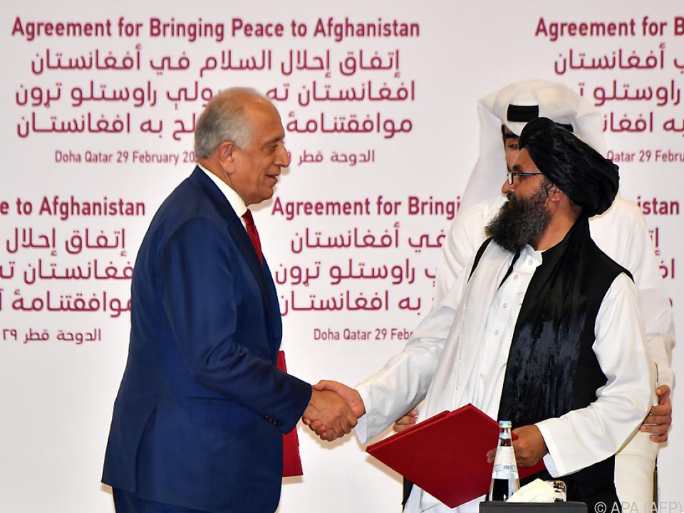 Vertreter der USA und der Taliban unterzeichneten das Abkommen