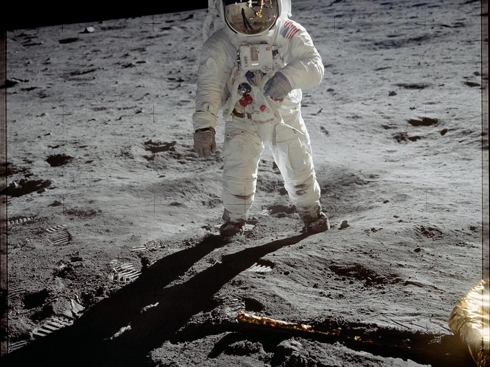 Das Foto des ersten Menschen auf dem Mond. Foto NASA