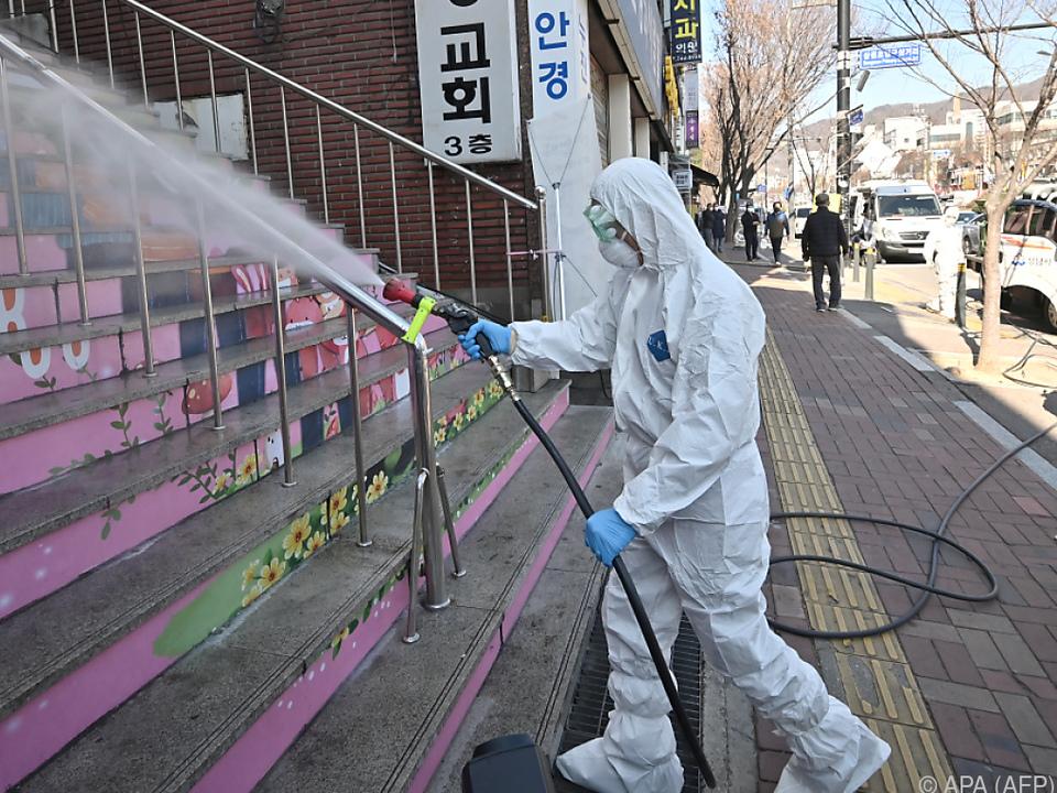 Großflächige Desinfektionsmaßnahmen in Südkorea