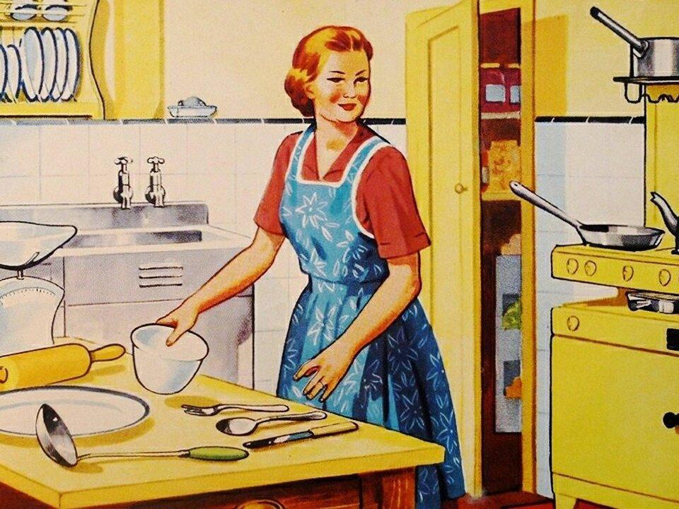 Haushalt Hausfrau retro