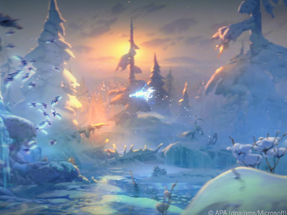 Waldgeist Ori streift durch den Zauberwald von Nibel und sucht sein Schicksal