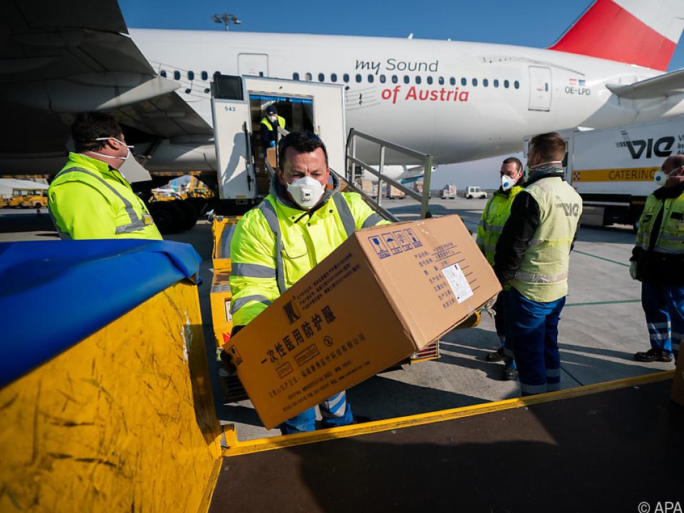 Zwei AUA-Maschinen brachten die Ausrüstung von China nach Wien