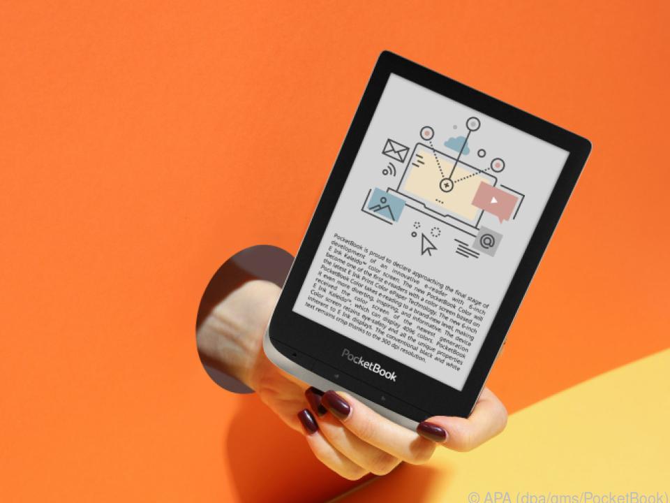 Mit der Kaleido genannten Displaytechnik wird das E-Book bunt