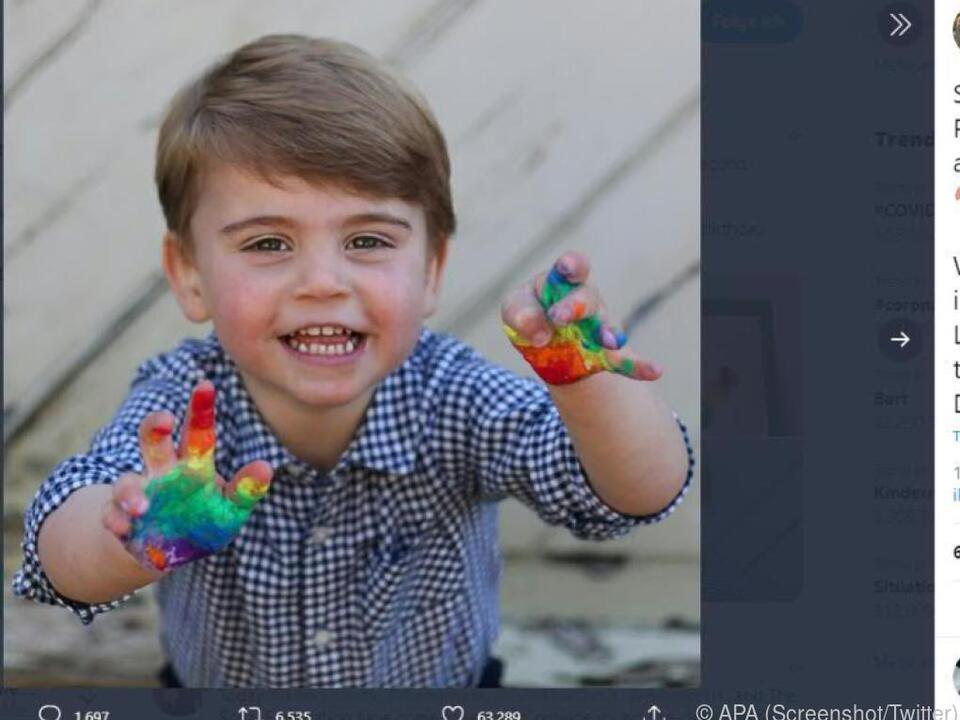 Prinz Louis malte sichtlich mit Fingerfarben