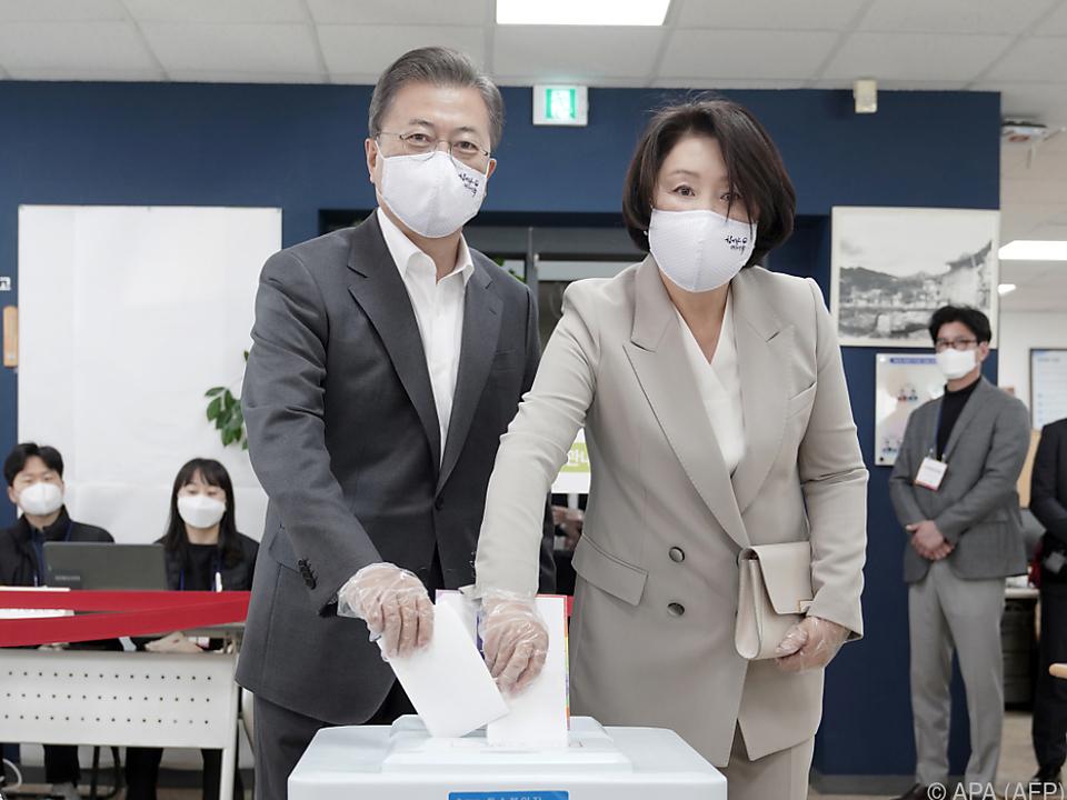 Südkoreas Präsident Moon und seine Frau Kim