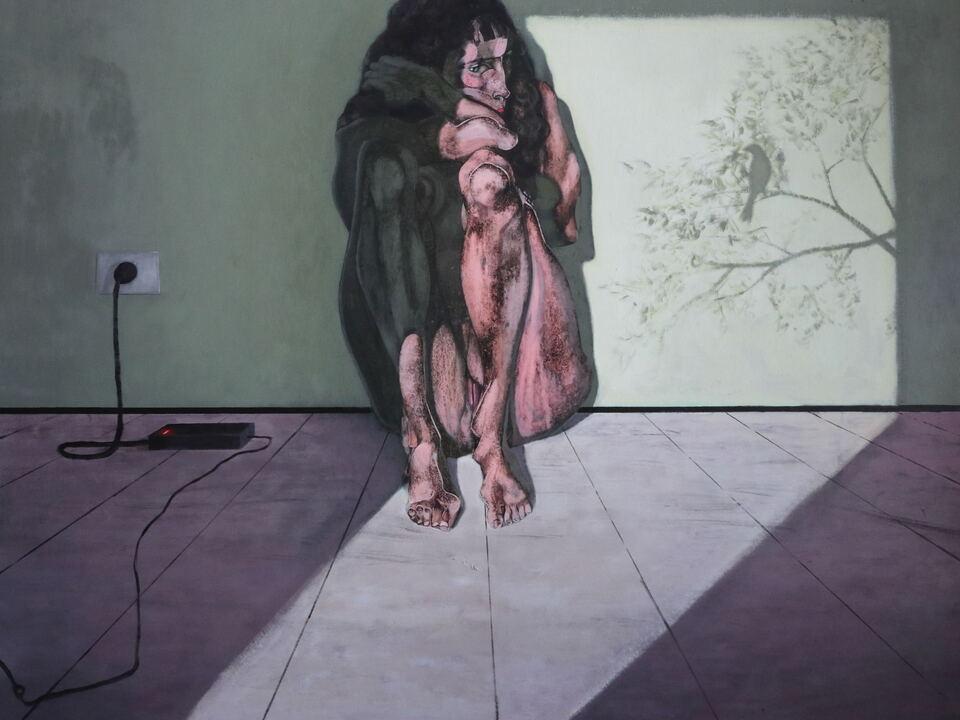 kunst südtirol Alessandro del Pero, La passera solitaria - Wiener Frueling, 2020, acrilico su tela, 150 x 150 cm