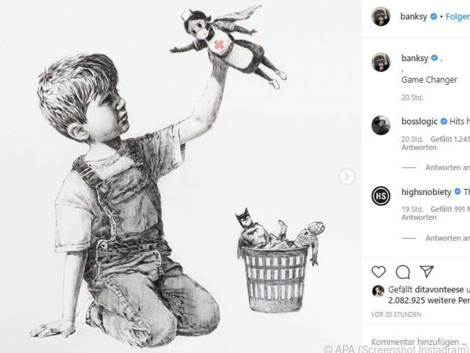 Banksy sagt auf seine Art Danke
