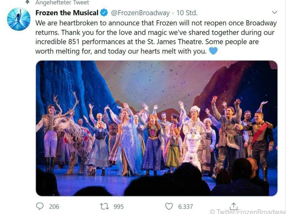 Coronapandemie macht auch vor dem Broadway nicht Halt