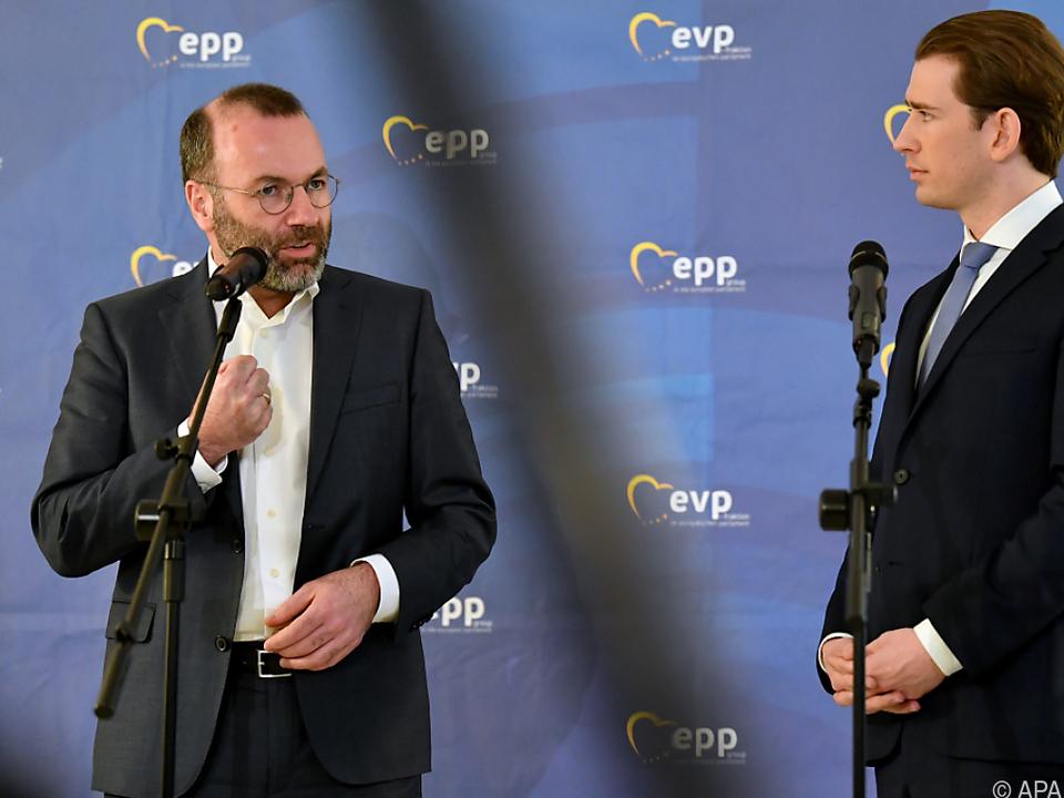 EVP-Vorsitzender Weber (li) und Bundeskanzler Kurz
