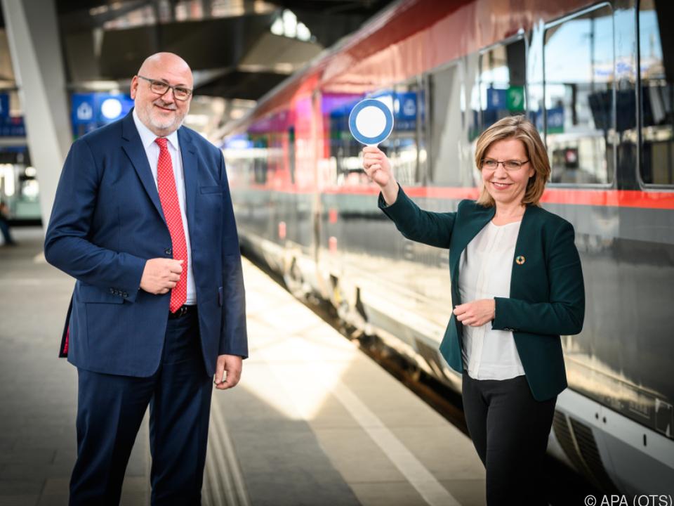 Klimaschutzministerin Leonore Gewessler und ÖBB-Chef Andreas Matthä