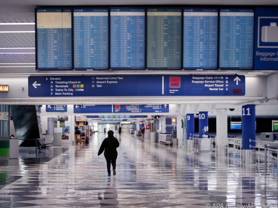 Leere Flughäfen auch in den USA