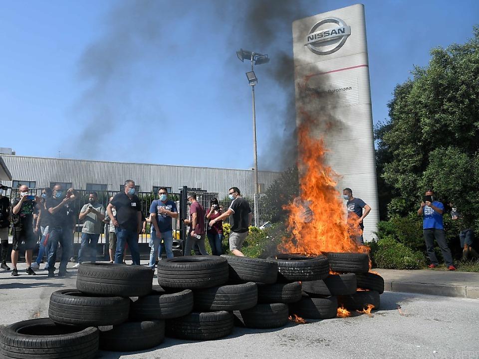 Proteste von Nissan-Arbeitern in Barcelona